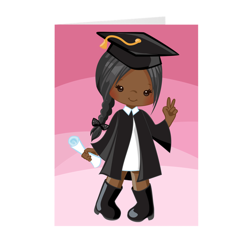 African American Girl w/Side Braid - Graduation Greeting Card