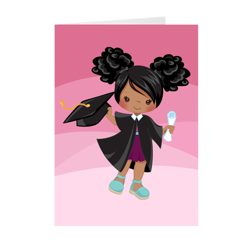 African American Girl with Afro Puffs - Graduation Greeting Card