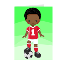 Load image into Gallery viewer, African-American Soccer Boy - Birthday Champ Greeting Card