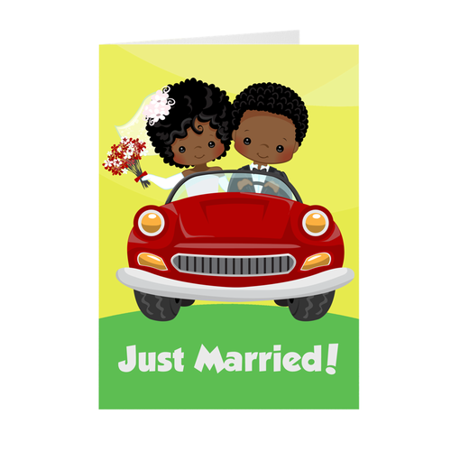 African American Couple - Wedding Car - Just Married Greeting Card