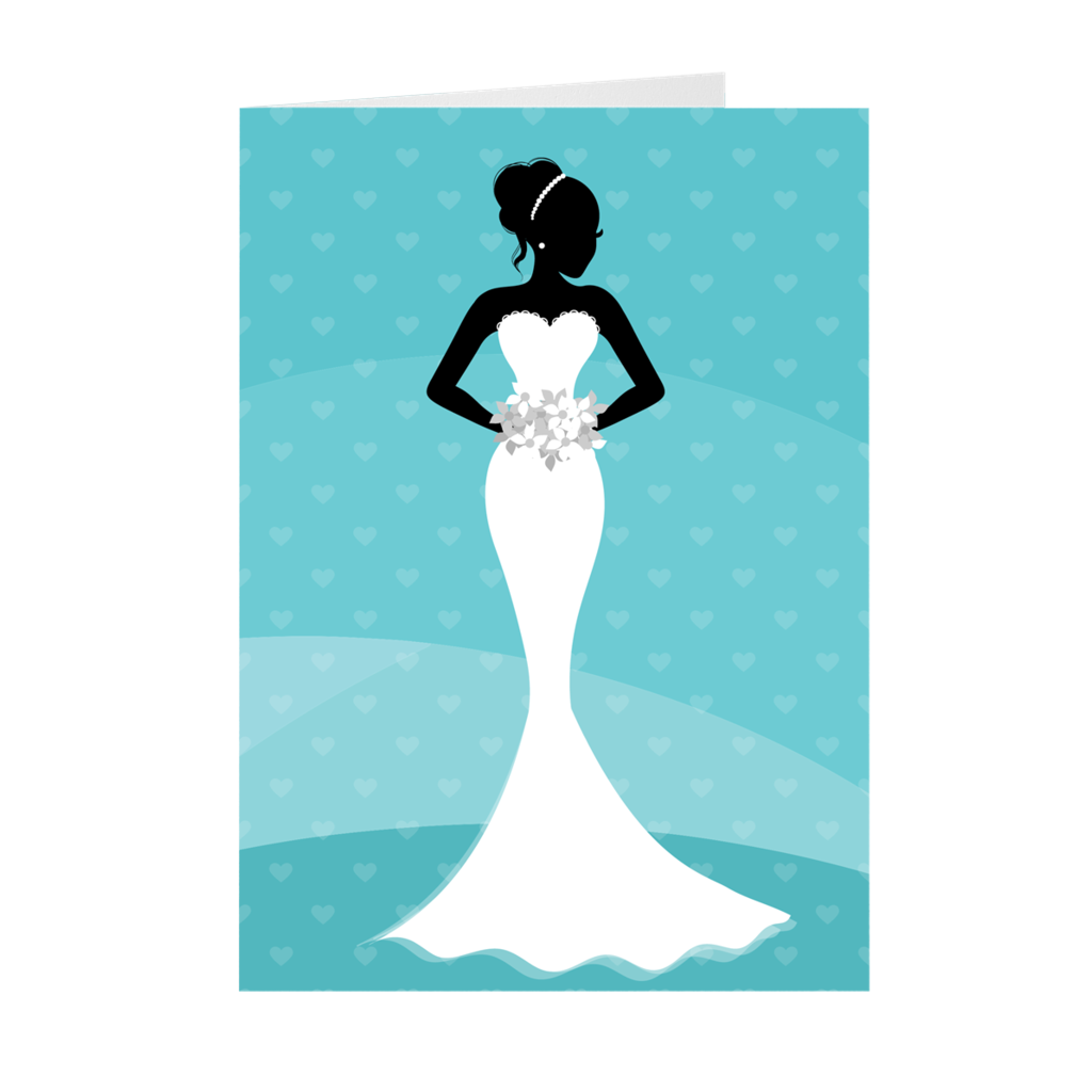African American Bride - Blue & White - Wedding Greeting Card