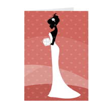 Load image into Gallery viewer, African American Bride Profile - Peach - Wedding Greeting Card