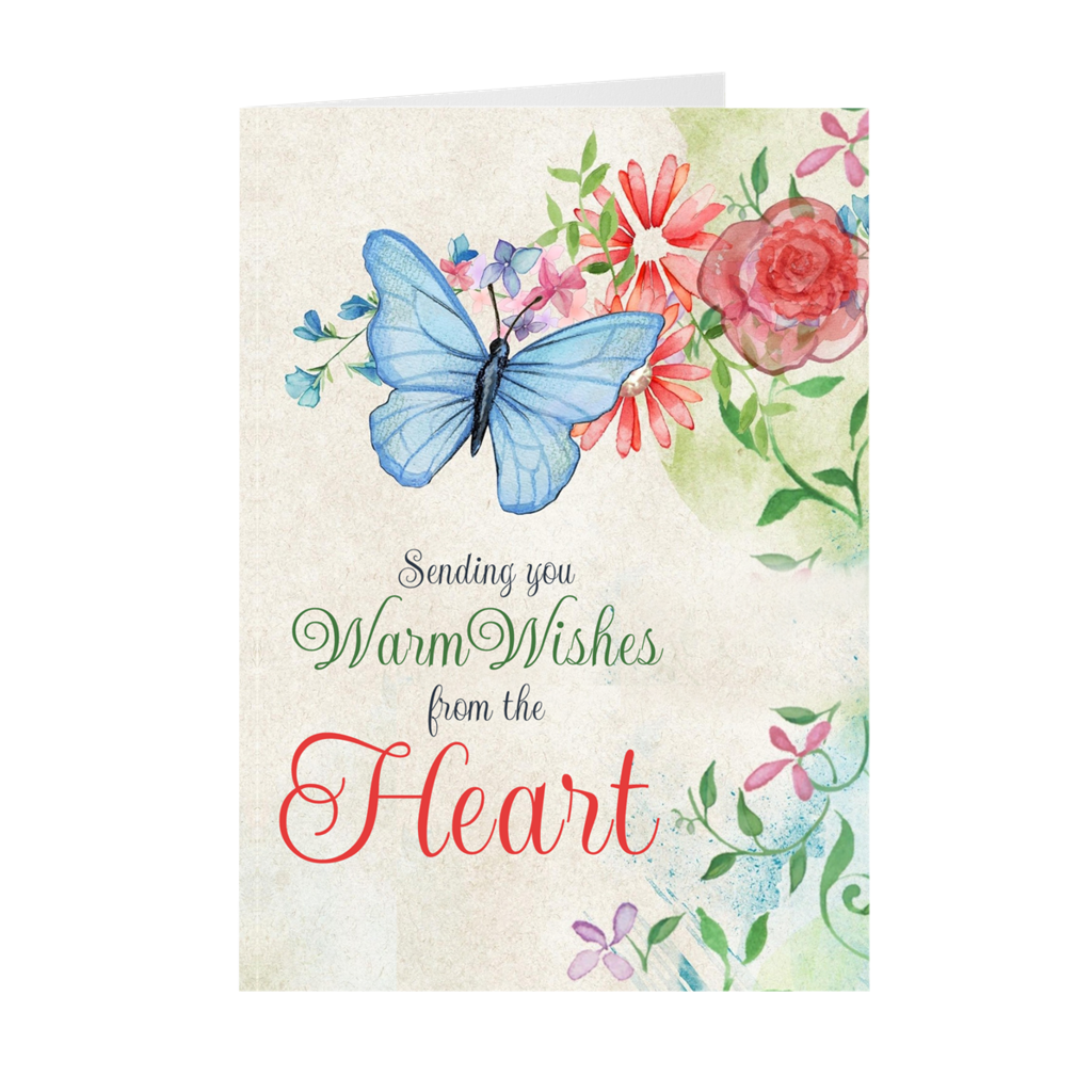 Butterfly Flower Vine - Sending You Warm Wishes - Sympathy Greeting Card