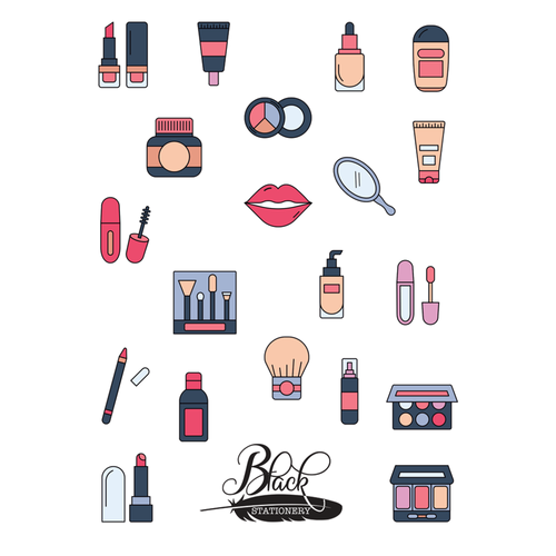 Black Stationery - Makeup Beauty Premium Stickers