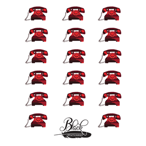 Black Stationery - Red Vintage Telephone Premium Stickers
