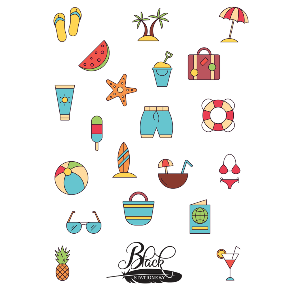 Black Stationery - Let's Go To The Beach Premium Stickers