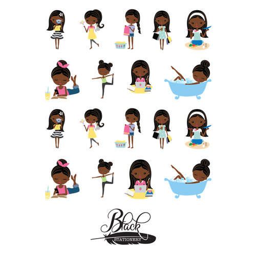 Black Stationery - African American Woman Enjoying Life Premium Stickers