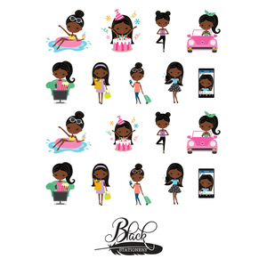 Black Stationery - African American Woman Living Life Premium Stickers