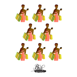 Treat Yourself - African American Woman Shopping Premium Stickers
