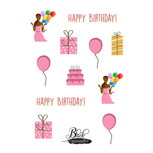 Birthday Girl Celebration - African American Birthday Girl & Gifts Premium Stickers