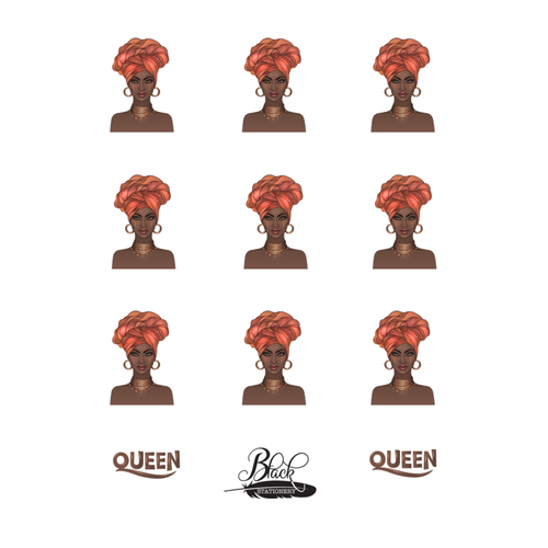 Glowing With Confidence - African Queen Turban Premium Stickers