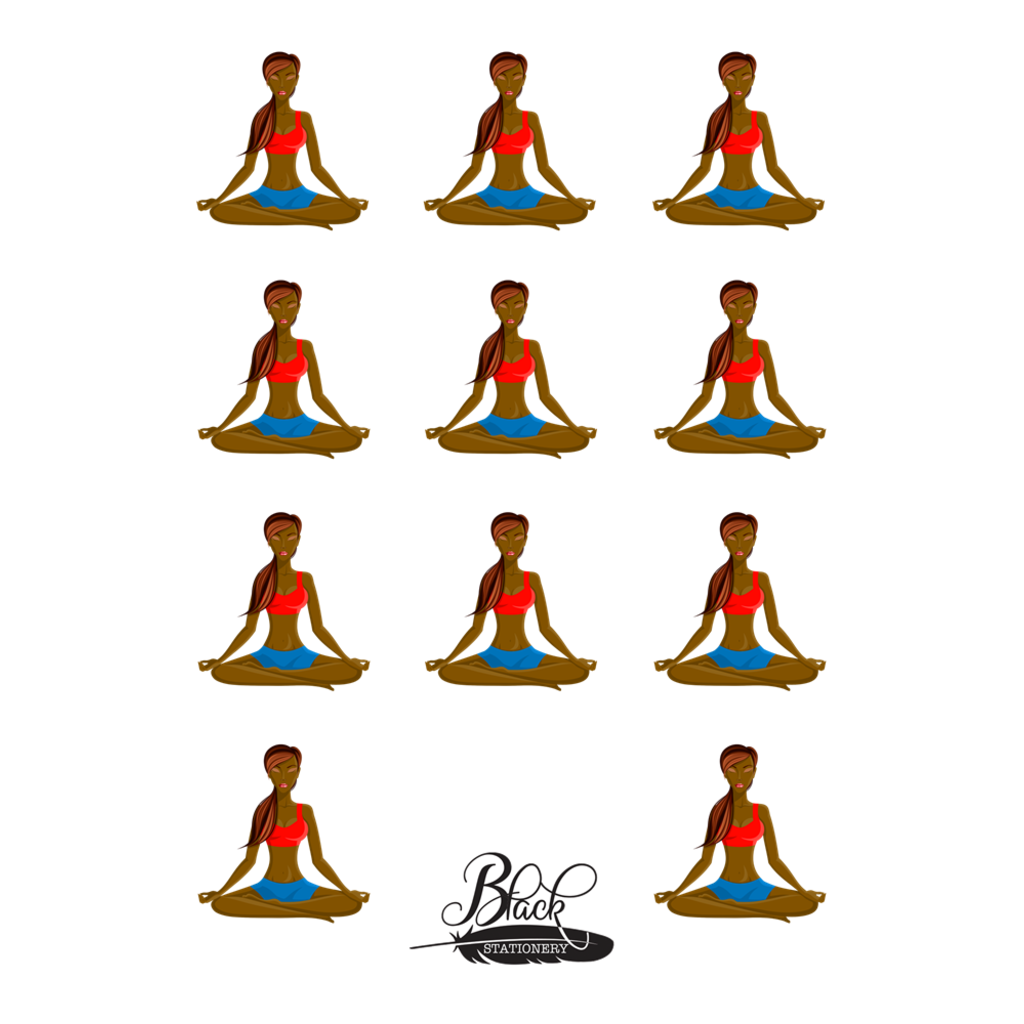 Elevated - African American Yoga Girl Premium Stickers