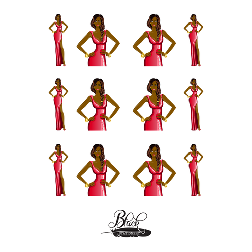 Red Carpet Fashionista - African American Girl Red Gown Premium Stickers