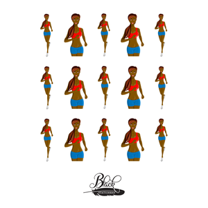 Stay Active - African American Woman Run / Walk Exercise Premium Stickers