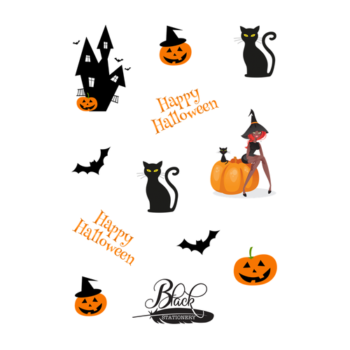 Happy Halloween - Witch, Cat, Pumpkin, Bat Premium Stickers