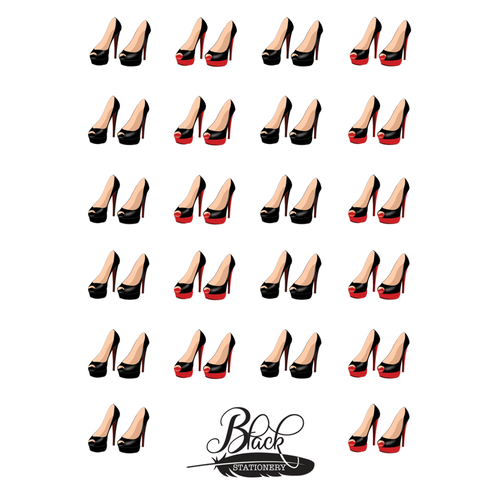 Black Stationery - Red & Black High Heel Premium Stickers