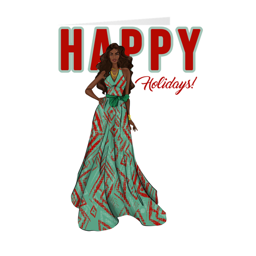 Red & Green Dress - African American Woman Happy Holidays Greeting Card