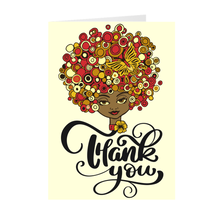 Load image into Gallery viewer, Colorful Afro & Butterfly - African American Girl - Greeting Card