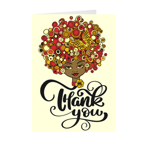 Colorful Afro & Butterfly - African American Girl - Greeting Card