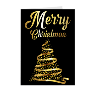 Gold & Black Christmas Tree - Merry Christmas Greeting Card