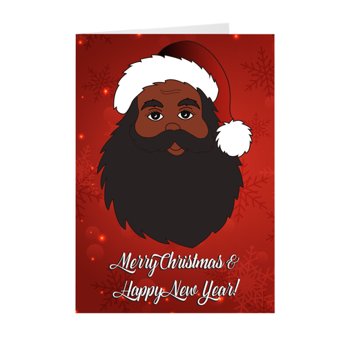 Merry Christmas & Happy New Year - African American Santa Claus Greeting Card