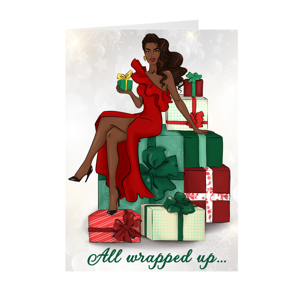 All Wrapped Up In The Holidays - African American Woman Holiday Card