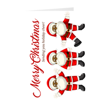 Load image into Gallery viewer, Sending You Holiday Cheer - African American Dancing Santa Christmas Greeting Card