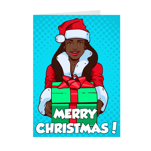 Girl With Christmas Gifts - African American - Merry Christmas Greeting Card