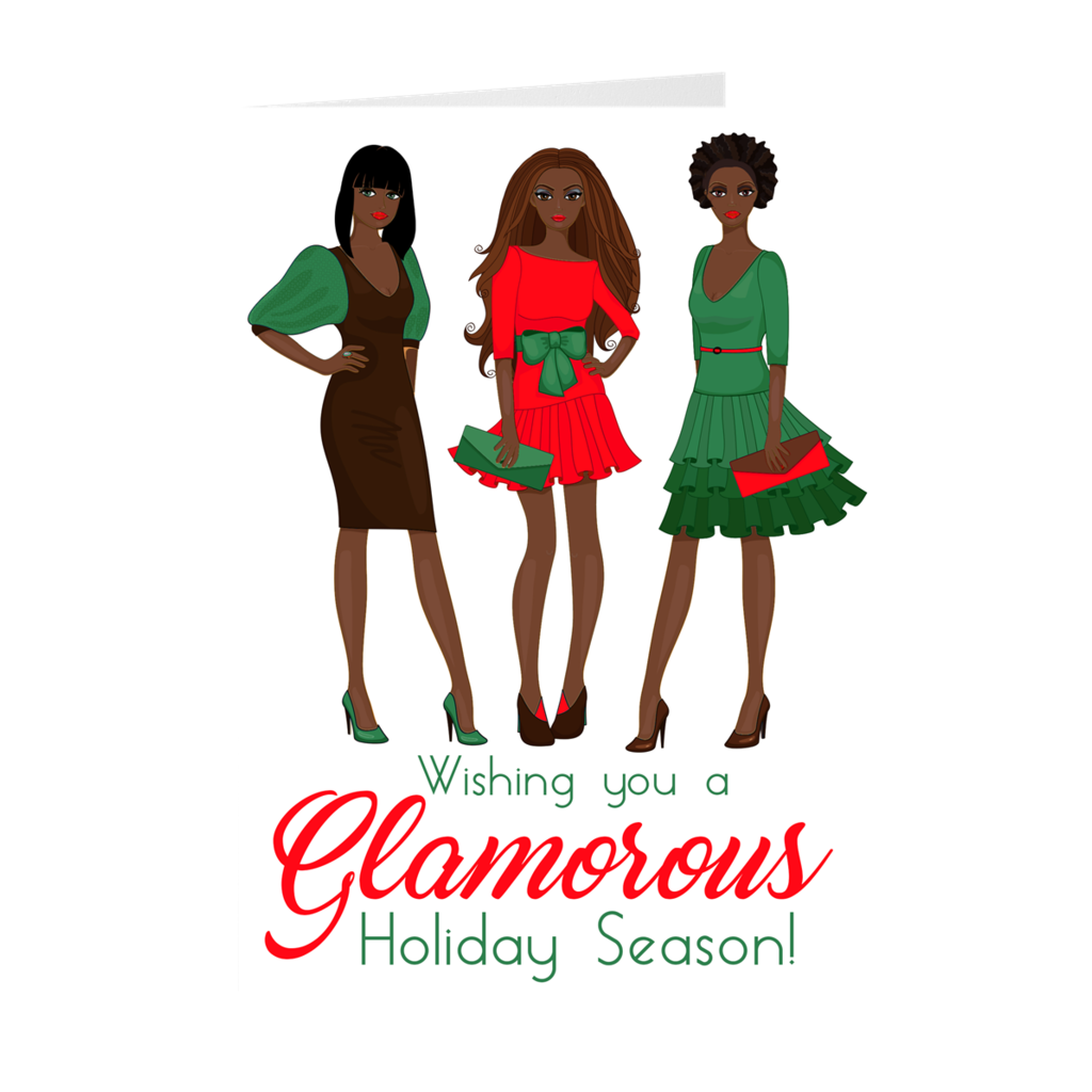 African American Women - Glamorous Holiday Season Greeting Card