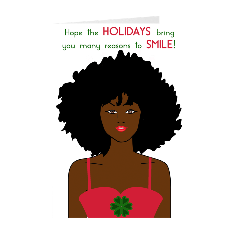 African American Woman - Holiday Smile - Greeting Card