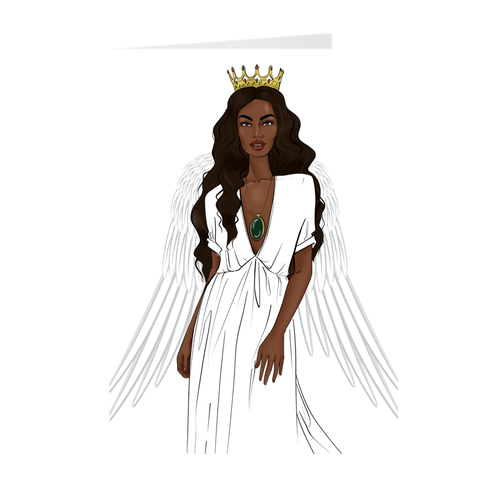 African American Angel - Blessed Holiday Greeting Card