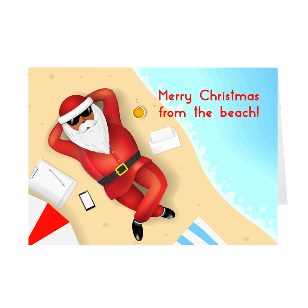 Beach Santa Claus Christmas Greeting Card
