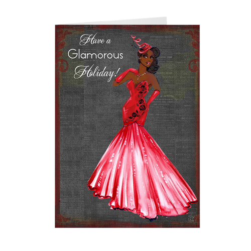 Red Gown Fashionista - African American Woman Holiday Greeting Card