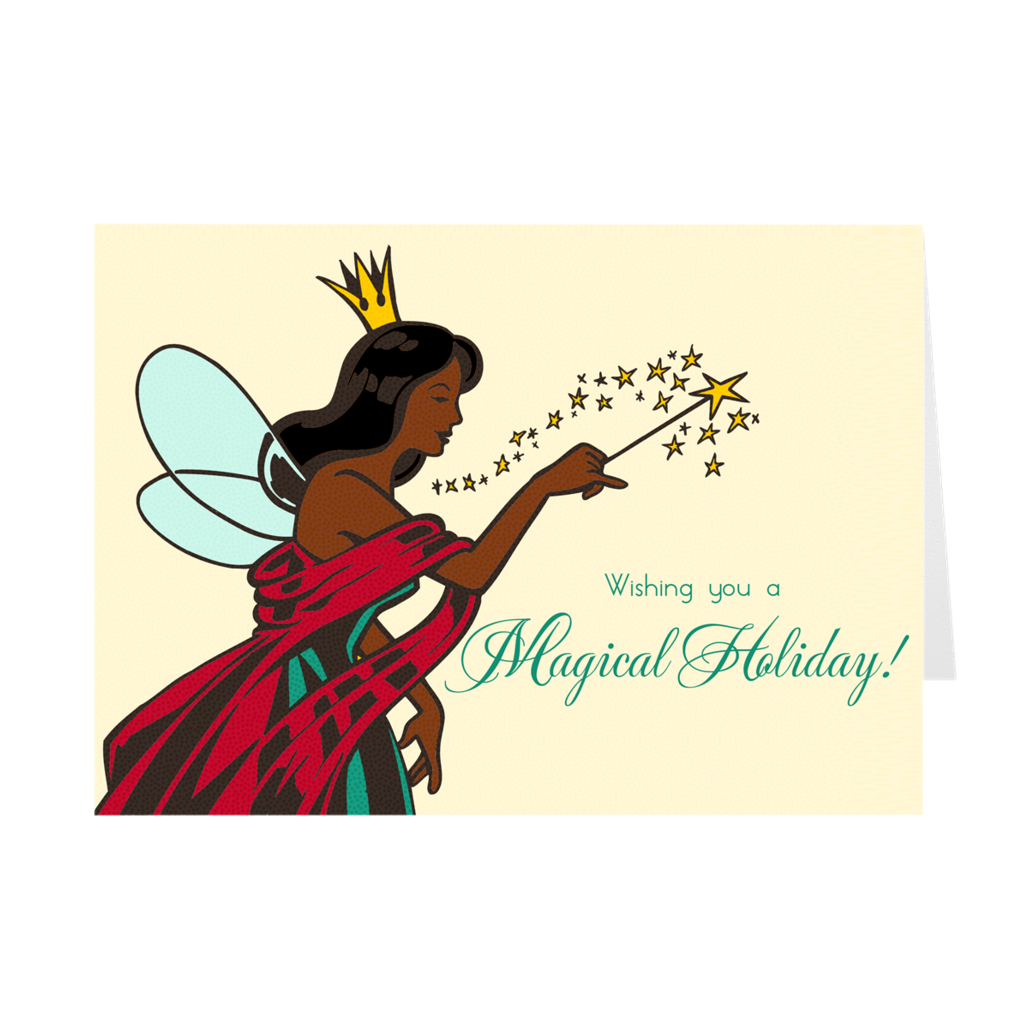 Magic Wand - Magical African American Woman Holiday Greeting Card
