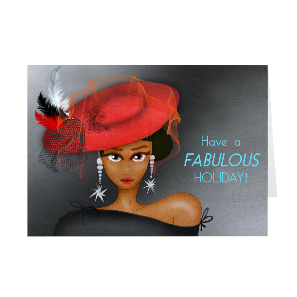 Fancy Hat - African American Woman Holiday Greeting Card