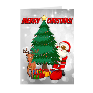 Christmas Tree, Reindeer & Black Santa Christmas Greeting Card