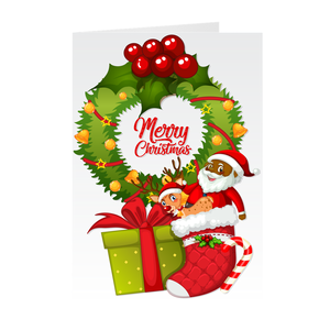 Wreath, Reindeer & Black Santa Claus Merry Christmas Greeting Card
