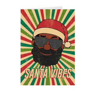Pop Art Retro Santa Claus With Sunglasses - African American Santa Vibes Greeting Card