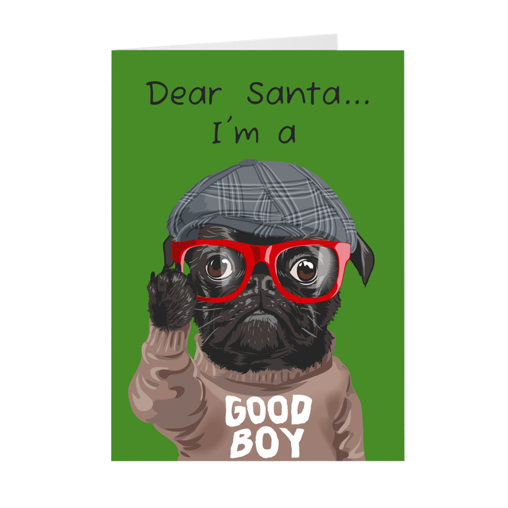 Bulldog Fashion Christmas Greeting Card