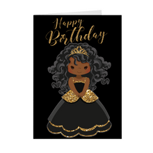 Load image into Gallery viewer, African American Girl Princess- You're A Star - Happy Birthday Greeting Card