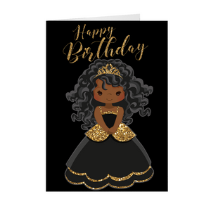 African American Girl Princess- You're A Star - Happy Birthday Greeting Card