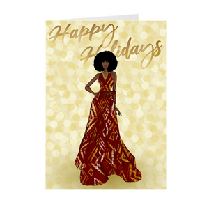 Afro - Red & Gold Dress - African American Woman Happy Holidays Greeting Card