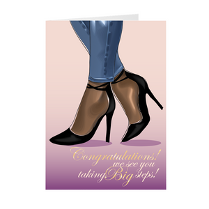 Taking Big Steps - Congratulations - African American Greeting Cards