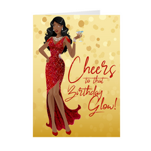 Load image into Gallery viewer, Cheers Birthday Glow - Red Gown - African American Girl - Greeting Card