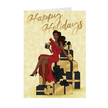 Load image into Gallery viewer, Happy Holidays Red Dress - Black & Gold Gifts - African American Holiday Greeting Cards
