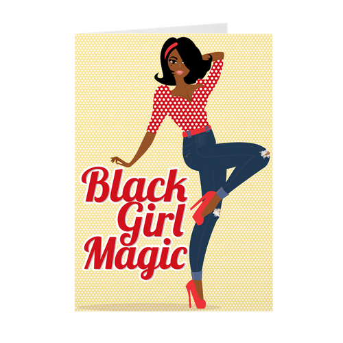 Jeans & Heels - Black Girl Magic - African American Greeting Card