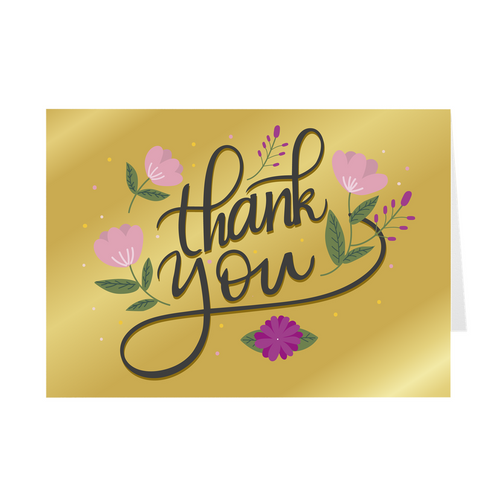 Gold - Flower Thank You Card