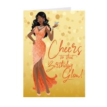 Load image into Gallery viewer, Cheers Birthday Glow - Peach Gown - African American Girl - Greeting Card