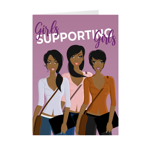 Positive Mindset - Girls Supporting Girls -African American Greeting Cards
