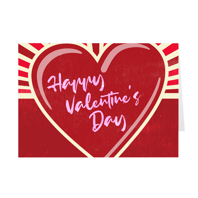 Red Heart Rays - Happy Valentine's Day Greeting Card